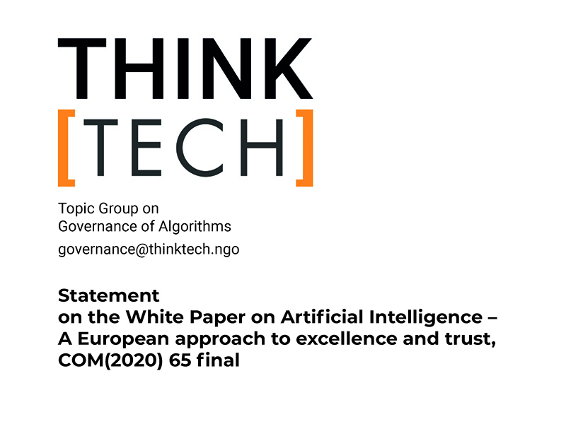ThinkTech Statement on EU Commission White Paper on Artificial Intelligence